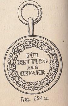 Life Saving Medal, in Gold (1890-1898) Rev