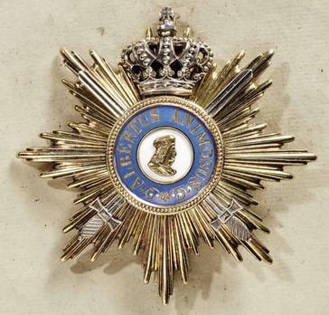 Albert Order, Type II, Military Division, Golden Grand Cross Breast Star (with swords & silver crown, 1915-1917)