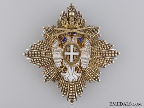Order of the White Eagle, Type II, Military Division, II Class Breast Star Obverse