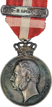 King Christian IX's Centenary Medal in Silver (with crown) Obverse