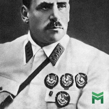 Vasily Blyukher, Marshal of the Soviet Union wears the order of the Red Banner
