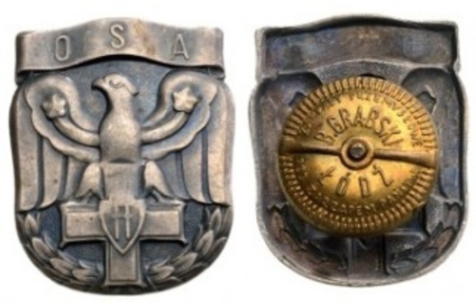 Badge (for Officers Artillery School) Obverse and Reverse