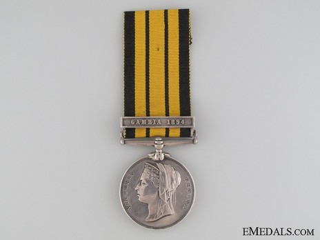 "Silver Medal (with ""GAMBIA 1894"" clasp) Obverse"