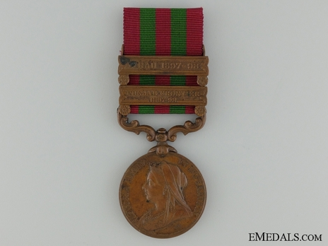 "Bronze Medal (with ""PUNJAB FRONTIER 1897-98"" and ""TIRAH 1897-98"" clasps) (1896-1901) Obverse"