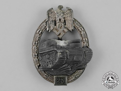 "Panzer Assault Badge, ""25"", in Silver (by J. Feix) Obverse"