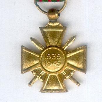 Miniature Bronze Cross (1939 1945) (Gilt) Reverse