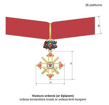 Military Order of Viesturs, III Class, Military Division Obverse