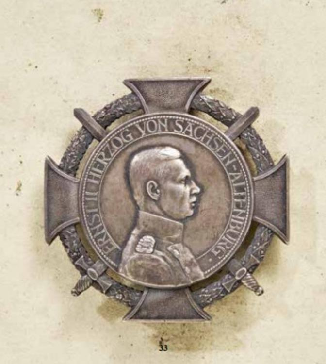 Saxe altenburg%2c+duke+ernst+medal%2c+type+ii%2c+military+division%2c+silver+with+pinback%2c+andreas+thies%2c+obv+