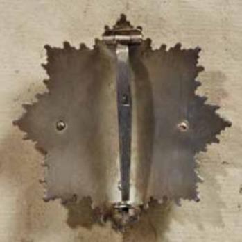 """German Cross, in Silver, by Deschler (4 rivets, """"1"""", cupal) Reverse"""