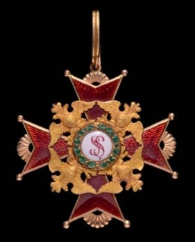 Order of Saint Stanislaus, Type I, Civil Division, II Class Cross (in gold)