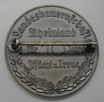 State Farmers' Group Rhineland Badges, Faithful Service Decoration for 10 Years Reverse